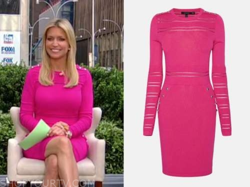 ainsley earhardt, fox and friends, pink knit dress