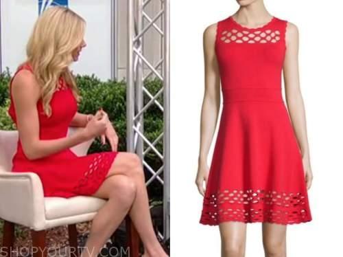abby hornacek, fox and friends, red knit dress