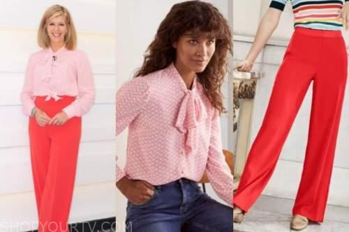 kate garraway, good morning britain, pink blouse, red pants