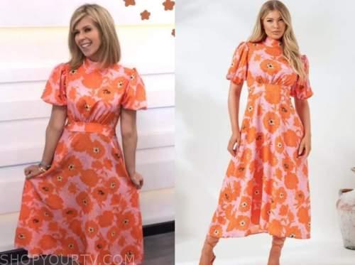 kate garraway, good morning britain, pink and orange floral dress