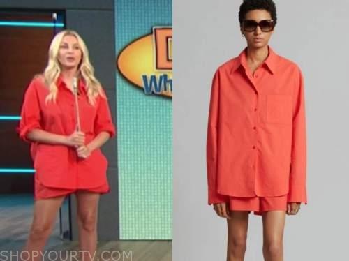 morgan stewart, E! news, daily pop, red shirt and shorts