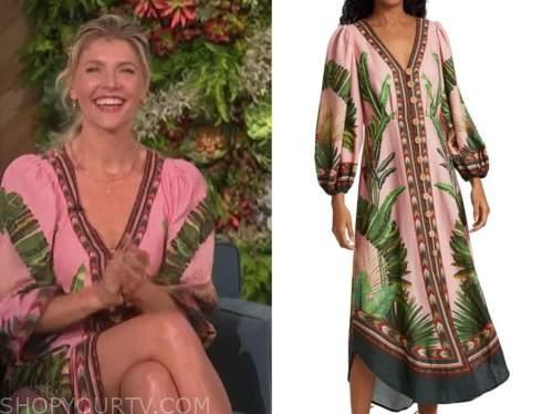 amanda kloots, the talk, pink and green palm print midi dress