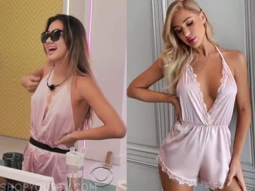 love island usa, pink lace romper, Kyra Lizama