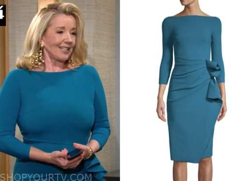 nikki newman, melody thomas scott, teal dress, the young and the restless