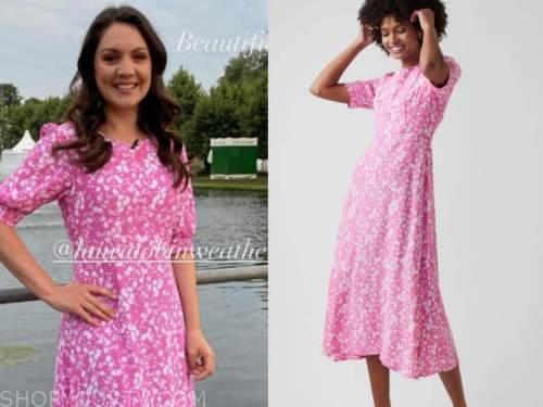 laura tobin, pink floral dress, good morning britain