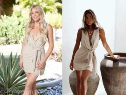 kelsey weir, beige linen dress, bachelor in paradise
