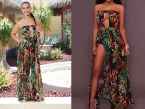 maurissa gunn, bachelor in paradise, printed strapless dress