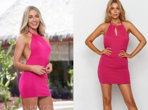 victoria paul, bachelor in paradise, hot pink halter dress