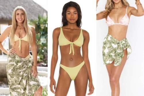 victoria larson, bachelor in paradise, yellow bikini, green palm print coverup sarong