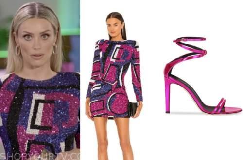 arielle vandenberg, love island usa, pink and purple geometric sequin dress