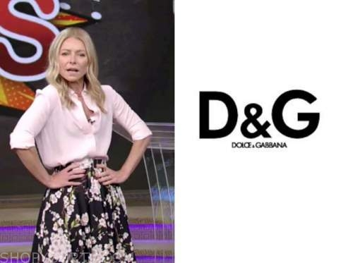 kelly ripa, live with kelly and ryan, black and white floral midi skirt