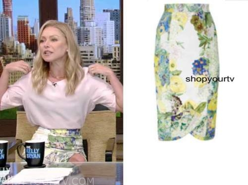 kelly ripa, floral skirt, live with kelly and ryan