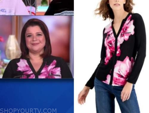 the view, ana navarro, black and pink floral top
