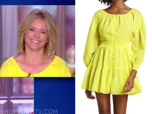sara haines, the view, neon yellow dress