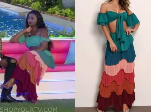trina njoroge, love island usa, tiered colorblock maxi skirt
