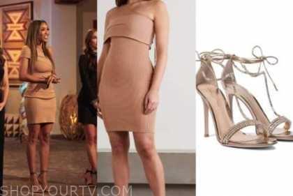 tayshia adams, the bachelorette, tan asymmetric dress, embellished sandals