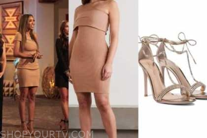 tayshia adams, tan beige dress, the bachelorette