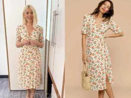 holly willoughby, this morning, ivory floral midi dress