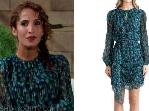 lily winters ashby, christel khalil, the young and the restless, teal printed dress