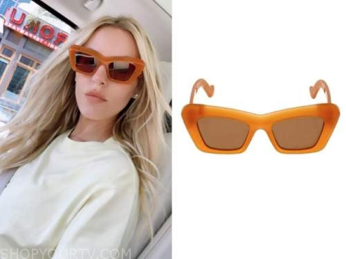 morgan stewart, orange sunglasses, fashion