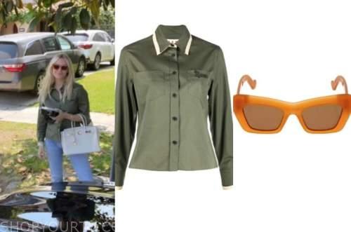 morgan stewart, green shirt, orange sunglasses, fashion