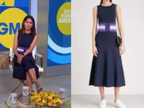 cecilia vega, navy blue and purple belted dress, good morning america