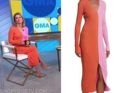 good morning america, amy robach, pink and orange knit dress