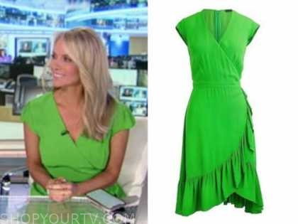dana perino, green wrap dress, america's newsroom, fox news