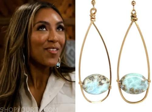 tayshia adams, the bachelorette, oval drop earrings