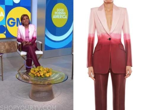 robin roberts, pink and red ombre blazer, good morning america