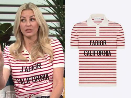 morgan stewart, striped polo shirt, E! news, daily pop