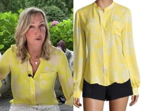 lara spencer, good morning america, yellow printed blouse
