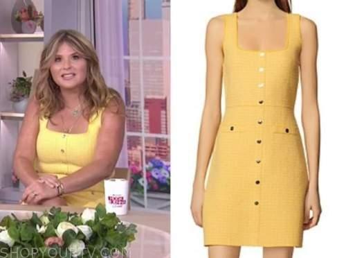 jenna bush hager, the today show, yellow tweed dress