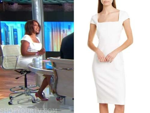 gayle king, cbs this morning, white square neck dress