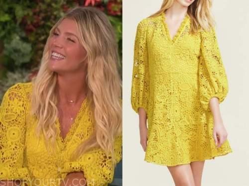 amanda kloots, the talk, yellow lace dress