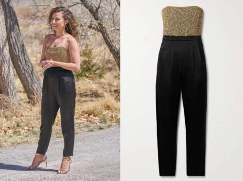 katie thurston, the bachelorette, gold and black strapless jumpsuit