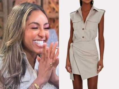 tayshia adams, the bachelorette, beige dress