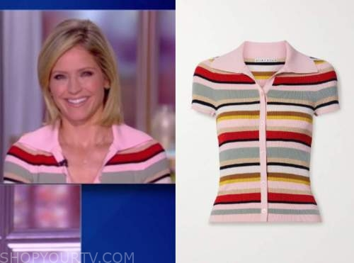 sara haines, the view, striped knit polo shirt