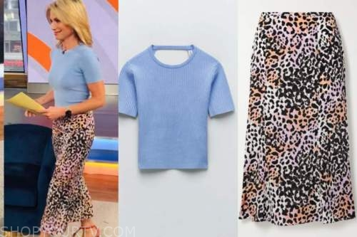 good morning america, amy robach, blue knit top, pink leopard skirt