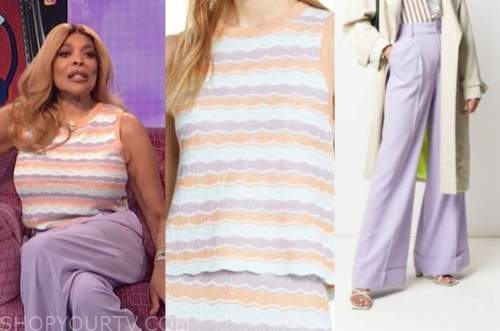 wendy williams, the wendy williams show, purple pants, knit striped top