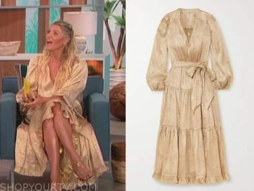 amanda kloots, the talk, gold wrap midi dress