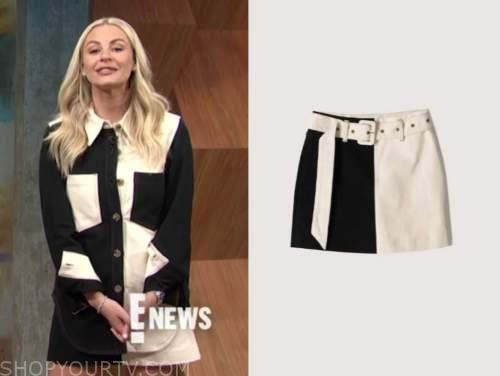 morgan stewart, black and white skirt, E! news, daily pop