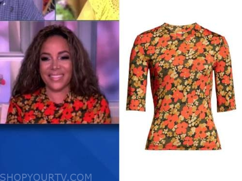 sunny hostin, the view, orange floral top