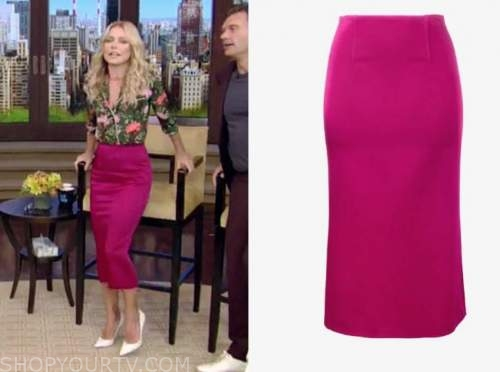 kelly ripa, live with kelly and ryan, pink skirt
