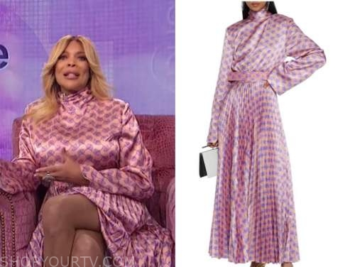 wendy williams, the wendy williams show, pink mock neck printed maxi dress