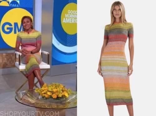 robin roberts, good morning america, striped knit dress