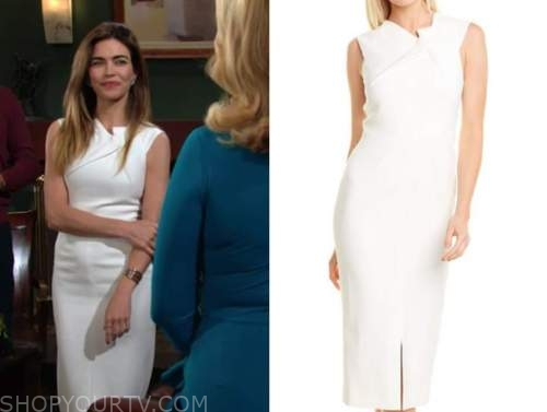 victoria newman, amelia heinle, the young and the restless, white sheath dress