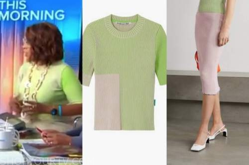 gayle king, cbs this morning, green knit top, pink knit skirt