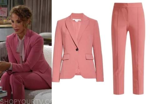 lily winters, christel khalil, the young and the restless, pink blazer and pant suit