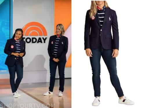 the today show, dylan dreyer, sheinelle jones, striped top, blazer, jeans, belt
